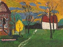 Werner Augustiner (1922-1986), Houses in Landscape, circa 1960
