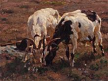 Julius P. Junghanns (1876-1958), Painting, Grazing Goats, 1905