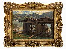 August Lüdecke-Cleve (1868-1957), Painting, Boat Houses, 1923
