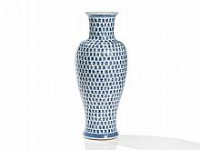Blue and White Porcelain Vase with Shou Characters, Qing