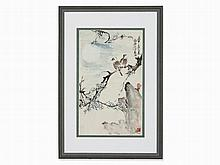 Xie Ruhan, Ink Painting, Jaybirds on Plum Tree, China, 1980