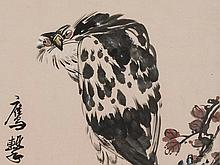 Wang Jian Ye, Ink Painting, Raptor at Pine Twig, China