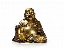 Large Gilt Bronze Figure of the God of Good Luck Budai, Qing