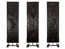 3 Carved Wooden Panels with Elephants in Relief, China, Qing