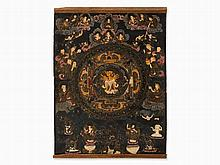 Black Ground Thangka with a Deity in Yab-Yum, Tibet, 20th C.