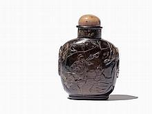 Smoky Quartz Snuff Bottle, Scholars and Inscription, Qing