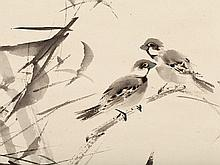 """Scroll Painting """"Sparrows in the Branches"""", Japan 1960-80"""
