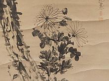 WATANABE Kazan attr., Pine and Chrysanthemum, 19th C.