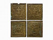 Set of 4 Figural Brass Reliefs, 18th/19th C.