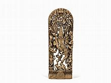 Large Carved Wooden Stele of Shiva Dancing, 19th/20th C.