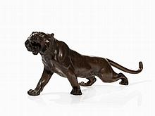 Bronze Tiger in Expressive Pose and Countenance, Meiji