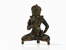 Buddha Vajrasattva Bronze with Vajra & Ghanta, Khmer, 13/14th C