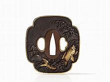 Superb Shibuichi Tsuba with Koi in Waves, Edo