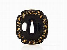 Charming Shibuichi Tsuba, Gilt Hirazogan Flower Elements, Edo