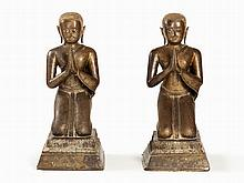 Tall Pair of Kneeling Bronze Worshipers, Thailand, 17/18th C