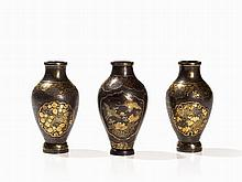 Three Iron Vases with Lush Gold and Silver Inlaid Décor, Meiji