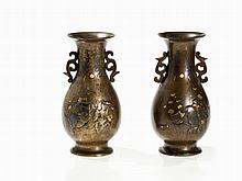 Pair of Fine Iroe Zogan Bronze Vases with Cats in Relief, Meiji