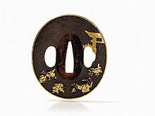 Shibuichi Tsuba with Gold and Silver Inlays in Hirazogan, Edo