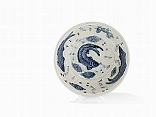 Blue and White Bowl with a Double-Sided Fish Decor, 17th C.