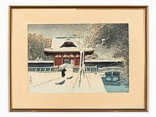 Kawase Hasui (1883-1957), Snow in the Shiba Park, 1920/30's