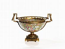 Gilt Bronze-Mounted Famille Rose Medallion Bowl, Late 19th C.
