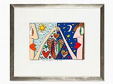 James Rizzi, Lithograph in Colors, 'Love is in the Air', 1989