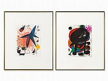 Joan Miró (1893-1983), 2 Lithographs, Abstractions, 1970s