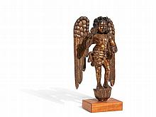 Garuda Figure, Large Wood Sculpture with Lacquer, Burma, 19th C