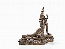Bronze Figure of a Reclining Goddess, Nepal, 19. C.
