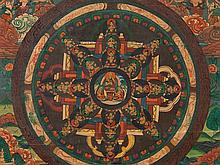 Thangka, Central Depiction of a Lama, Colors on Linen, 19th C.