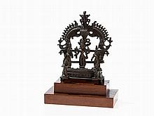 Triad of Bronze Figures, Vishnu under a Naga Canopy, 19th C.
