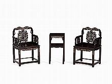 Zitan Wood 'Mother-of-Pearl' Furniture Set, 19th C.