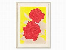 Gary Hume (b. 1962), Two Roses, Woodcut in Colors, 2009