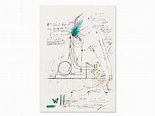 Jean Tinguely, Color Offset Lithograph with Collage, c. 1970