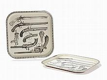 Fornasetti, In Style of, 2 Trays with Pistol Decor, 1950s