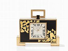 Cartier Desk and Alarm Clock with Gold Leaf Decoration, 20th C.