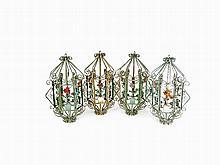 Four Iron 'Bird Cage' Lanterns, Italy, c. 1930/40s