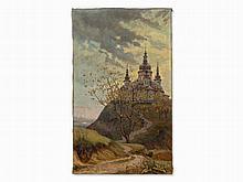 T. Sinitza, Landscape of Hills with Church, Oil, c. 1930