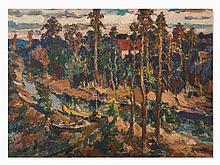 River In Nevelichka, Oil Painting, Russia, 1990