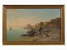 Antal Ligeti (1823-1890), Italian Coastal Landscape, Oil, 1881