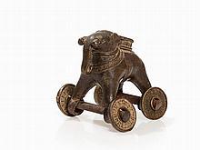 Bastar Bronze Elephant with Ornate Wheels, India, 19th/20th C