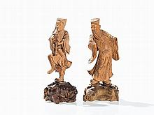 Two Figurines of Immortals, Carved Wood, c. 1900