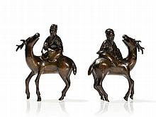 Pair of Figural Damascened Bronze Censers 'Luohan', 19th C