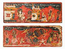 Pair of Manuscript Covers with Figural Painting, 18th C.