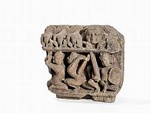 Sandstone Relief Fragment with Temple Guards, 9th/10th C.