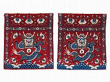 Pair of Wall Hangings, Embroidery with Imperial Dragons, 20th C