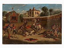 E. Gillet, Bullfighting Scene, Oil, Spain, 2nd Half of 19th C.