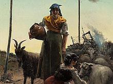 José Oliva Rodrigo (c. 1855-?), Two Shepherdesses, Oil, 1886