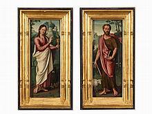 Pair of Devotional Pictures, Hispano-Flemish School, 16 C.