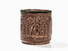 Bamboo Brush Pot with Figures and Phoenixes, China, 19 C.